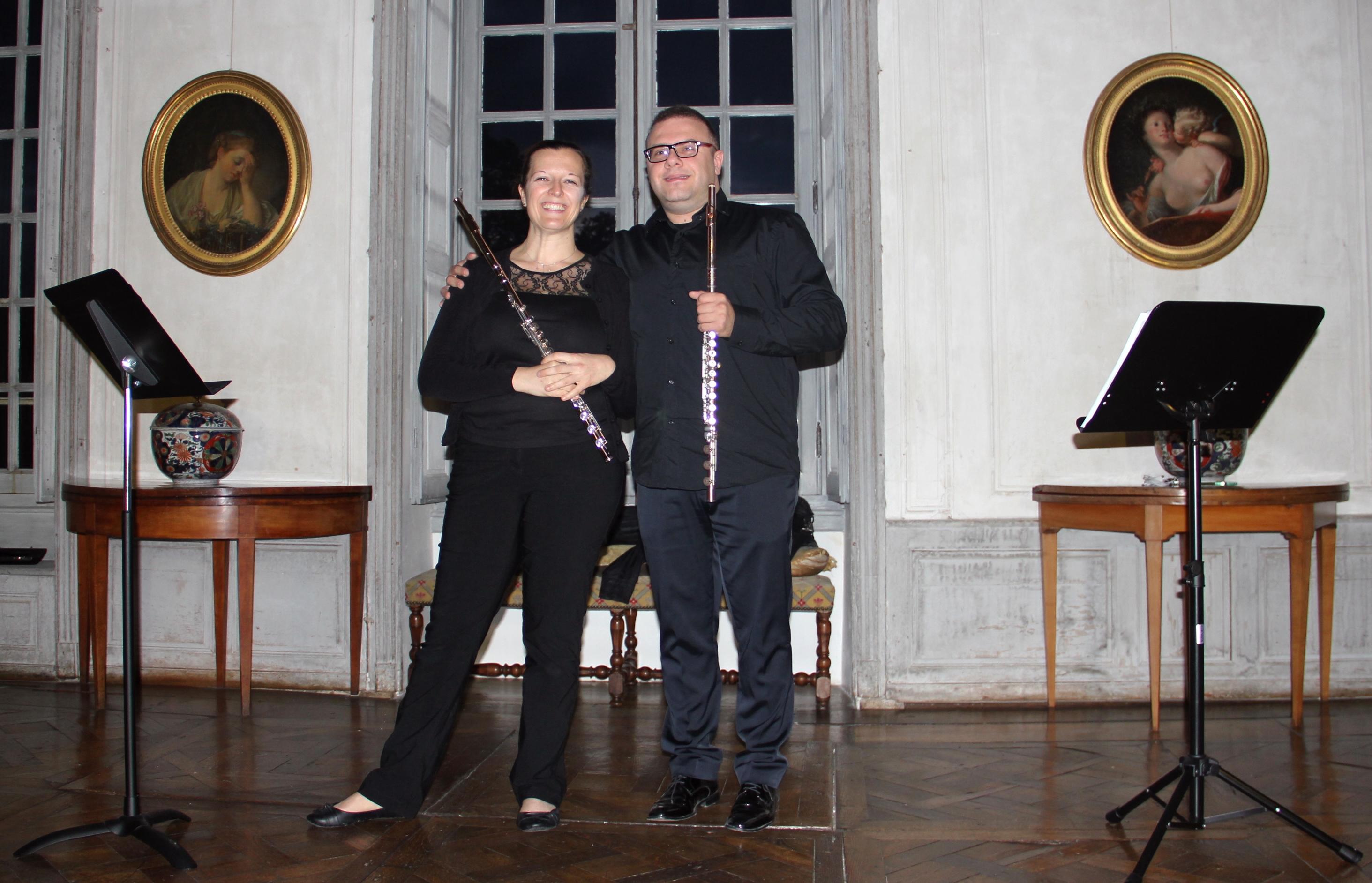 Le concert du duo Doppler dans le grand salon du château